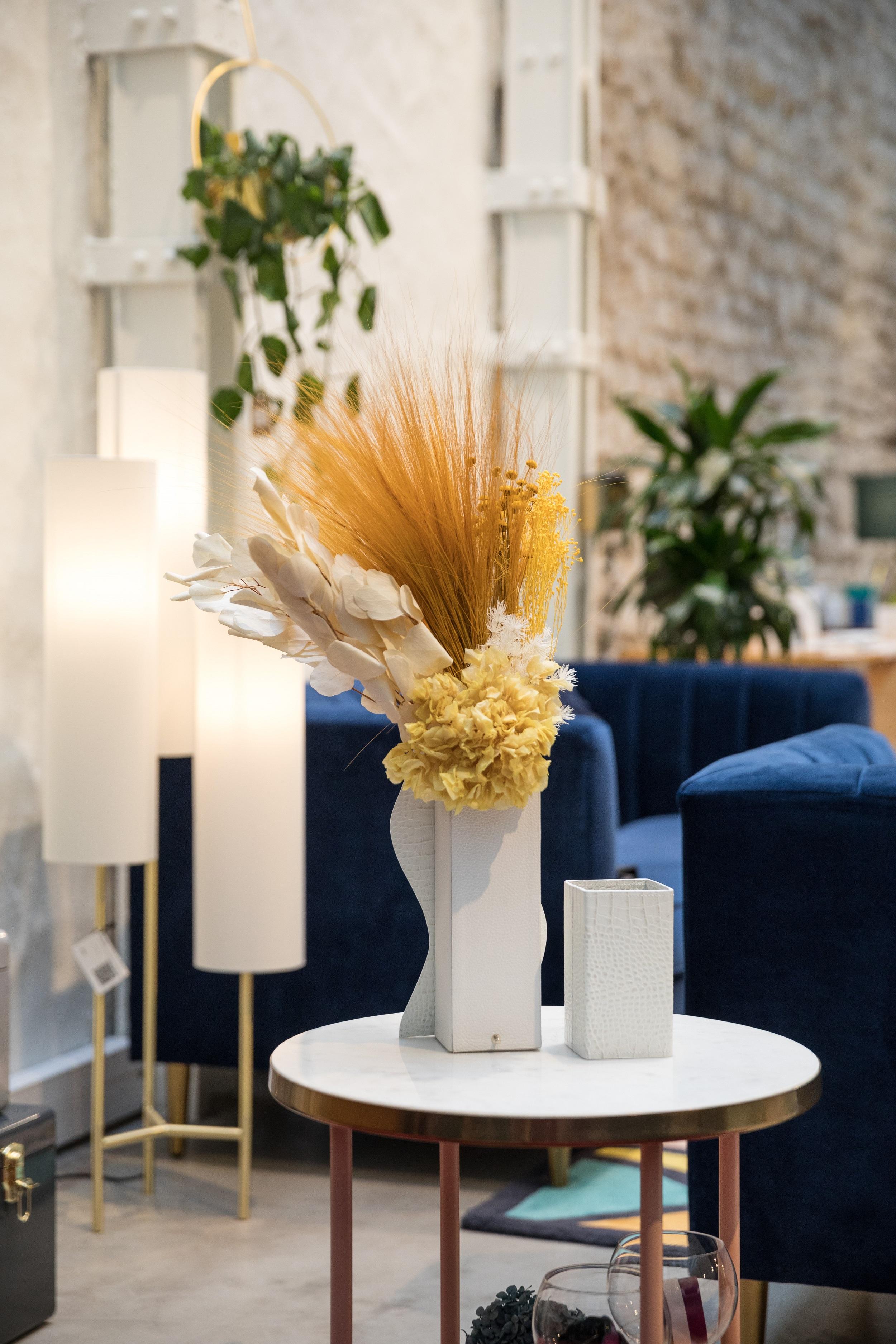 bouquet Aqua en fleurs stabilisées - Rodanthe - Décoration d'hôtels de luxe