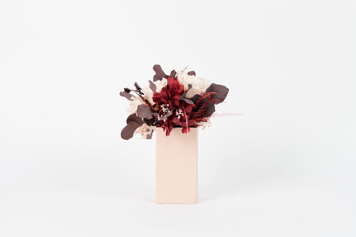 Bouquet en fleurs stabilisées Cinabre S - tons bordeaux
