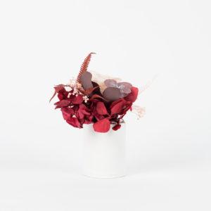 Bouquet en fleurs stabilisées Petit pot Cinabre - vase blanc