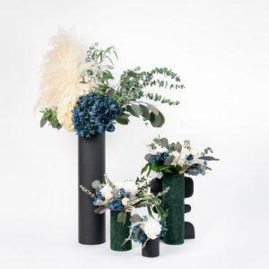 Gamme de bouquets en fleurs stabilisées Kind of Blue - Tons ivoire et bleu
