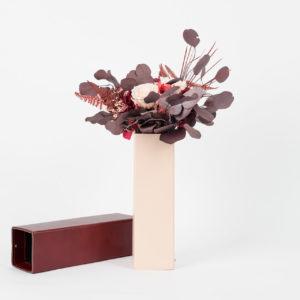 Bouquet en fleurs stabilisées Caméléon Cinabre - tons bordeaux
