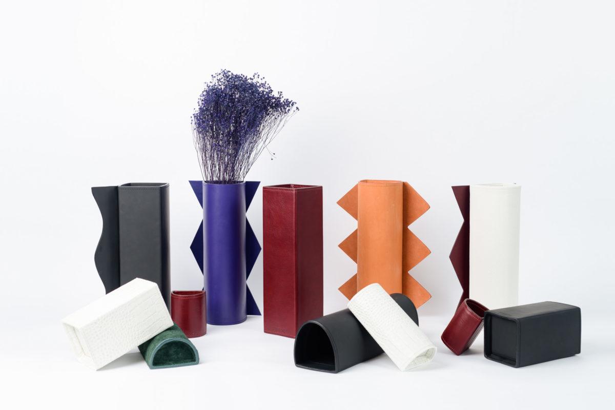 Vases design en cuir Rodanthe