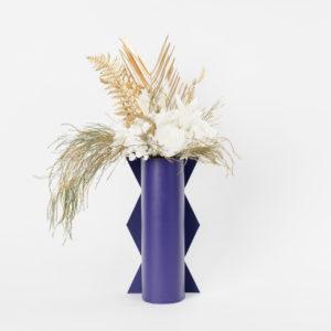 Bouquet en fleurs stabilisées Peacock M vase bleu