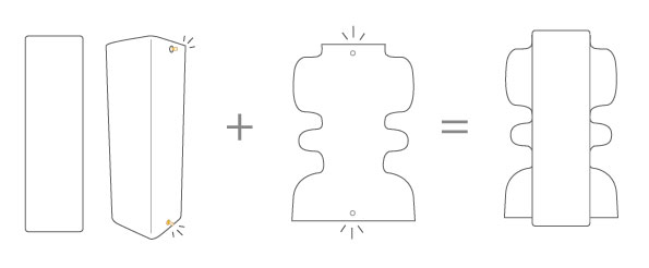 Mode d'emploi : vase et cuir amovible courbes